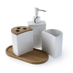 Aria 4pc Ceramic & Bamboo Accessory Set