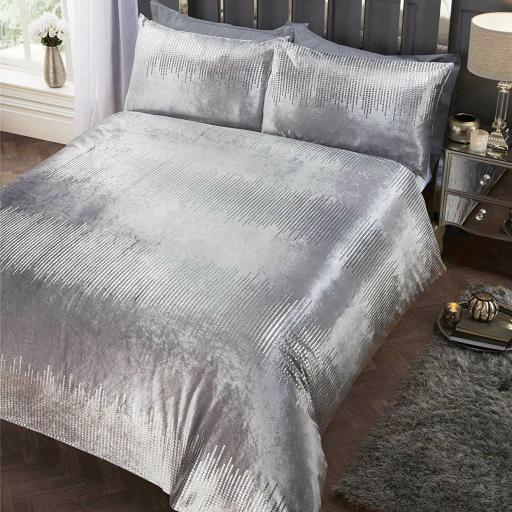 Belle Maison Tiffany Silver Duvet Set