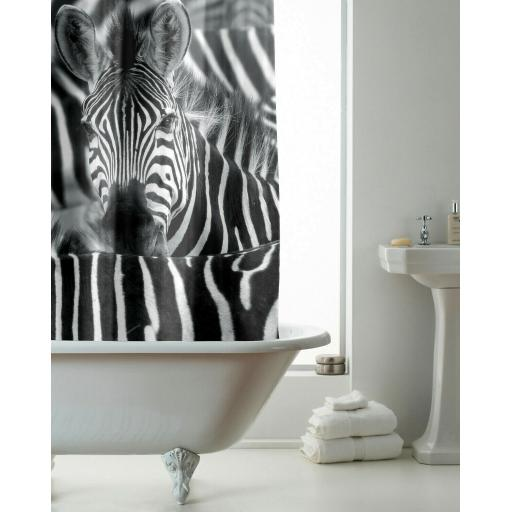 Zebra Hookless Shower Curtain