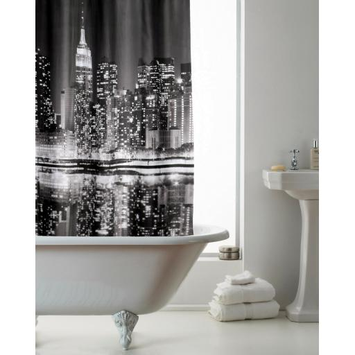 New York Hookless Shower Curtain