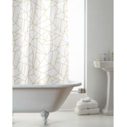 Geo Metallic Gold Hookless Shower Curtain