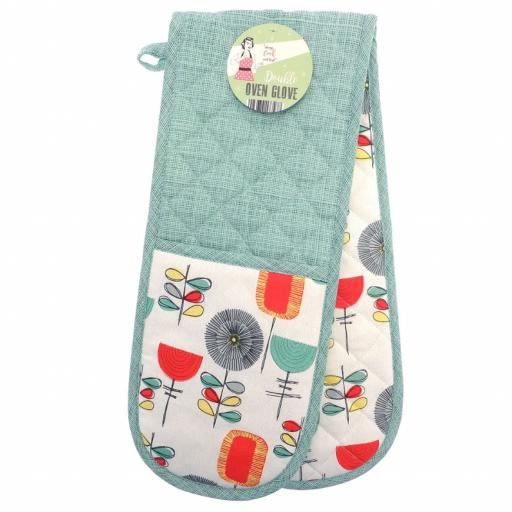 Novelty Retro Flowers Double Oven Gloves