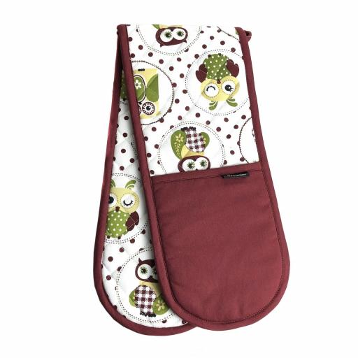 Country Owls Twill Cotton Double Oven Gloves
