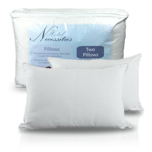 Hotel Extra Filled Microfibre Piped Pillow Pair