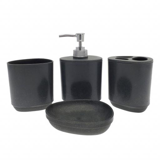 Stone Effect 4pc Bathroom Accessory Set