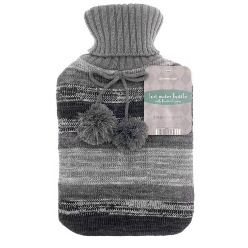 Cosy Grey Knitted Hot Water Bottle