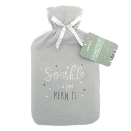 Cosy Embroidered Sparkle Hot Water Bottle
