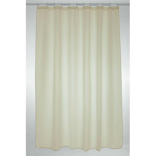 Cream Long Fabric Shower Curtain