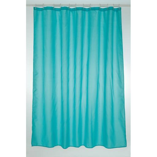 Teal Long Fabric Shower Curtain