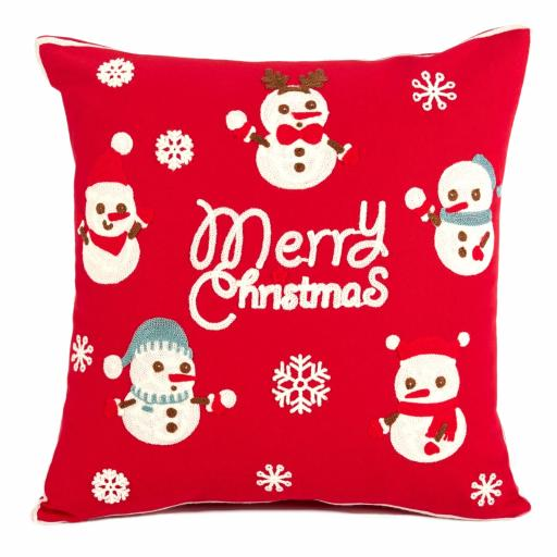 Festive Crochet Little Snowmen Cushion