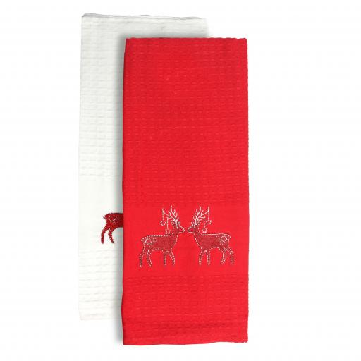 2pk Festive Reindeer Kitchen Towels