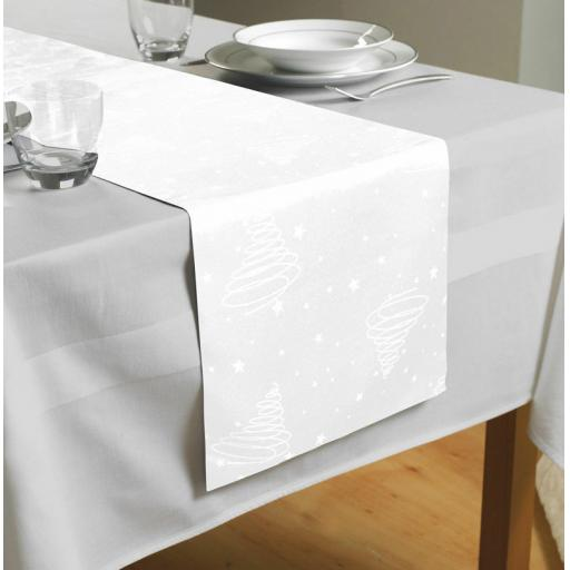 White Christmas Swirl Table Runner