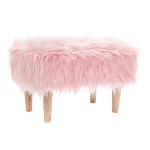 Furry Rectangle Footstool